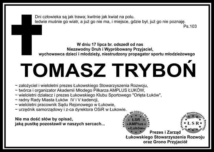 L'association Voisins Jumelages a le regret d'annoncer le décès du Tomek TRYBON le lundi 17 Juillet dernier à l'âge de 48 ans suite à un cancer.<br />Tomek était notre ami depuis 2003, date du jumelage avec Łuków. Il avait à cette époque créé avec son ami Slawek une association pour le « développement de la Ville de Łuków » qui consistait à fédérer tout ce que pouvait compter la ville comme forces vives pour développer la ville socialement, culturellement et aussi par les jumelages.<br />Il était toujours disponible pour organiser, recevoir et animer.<br />A ce titre, il est à l'origine des nombreuses activités de jumelages qui ont eu lieu entre Voisins le Bretonneux et Łuków, en particulier dans le domaine sportif. Il est à l'origine des échanges fructueux qui ont eu lieu depuis plus de 10 ans entre le Voisins Football Club et son club de foot à Łuków. Avec son ami Slawek Smolak, Ils ont organisé pour leurs amis de Voisins des randonnées pédestres dont chaque participant se souvient encore.<br />Son souvenir nous guidera encore longtemps et c'est ainsi que nous continuerons avec encore plus de convictions notre coopération avec la ville de Łuków et les amis de Tomek qui perpétuerons son œuvre.<br />Christian FRANCQ<br />Président de Voisins Jumelages